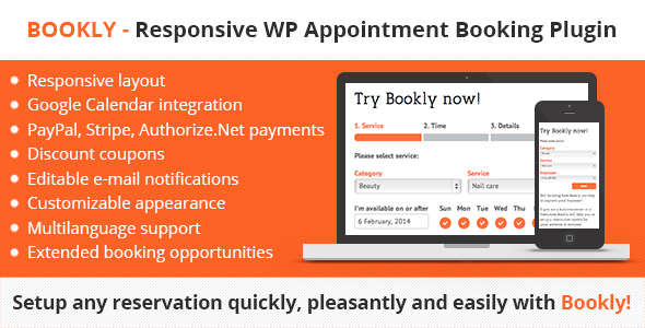 Bookly – Responsive WordPress Appointment Booking and Scheduling Plugin